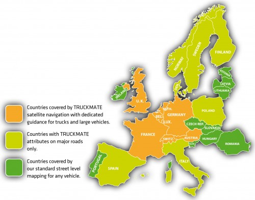Truckmates Coverage of Europpe