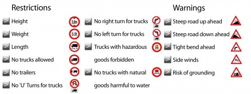 Road warnings and alerts for truck drivers